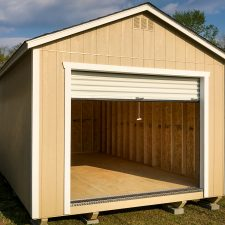 A custom garage storage shed in Georgia with the door open