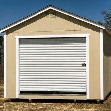 A custom storage shed garage in Georgia with brown wood siding