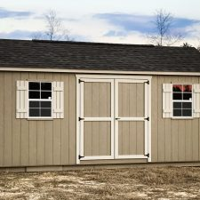 A custom storage shed in Georgia with brown siding