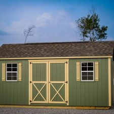 A custom storage shed in Georgia at sunset