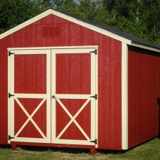 A custom storage shed in Georgia with red siding