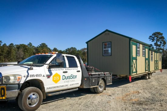 Delivery of a wooden garden shed in Georgia