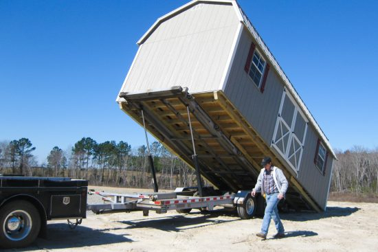 delivery of lofted storage barn in georgia