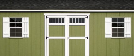 An exterior shed wall material option