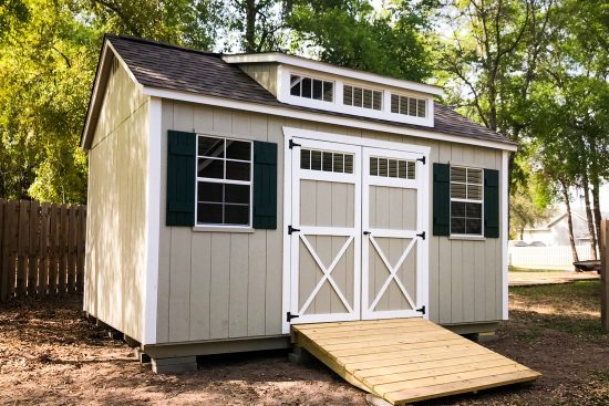 backyard shed with dormer in georgia