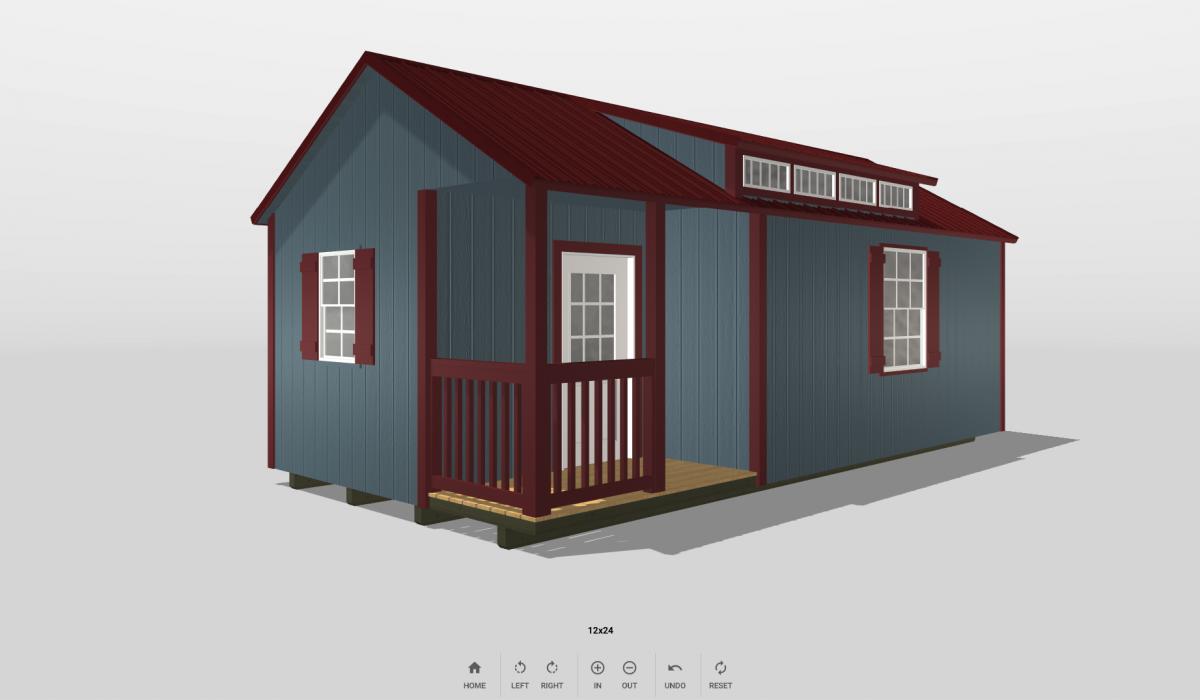 Screenshot of 3D backyard shed design software