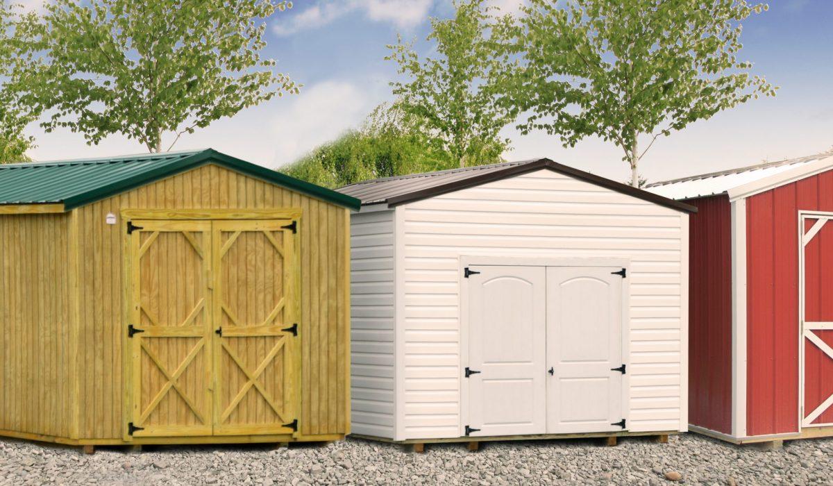 backyard sheds by siding type