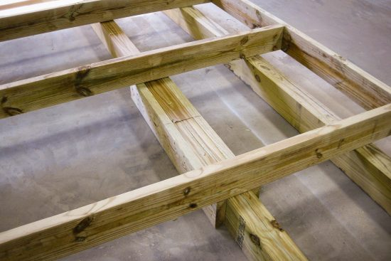 Extra-wide joist spacing on a storage shed not for cars