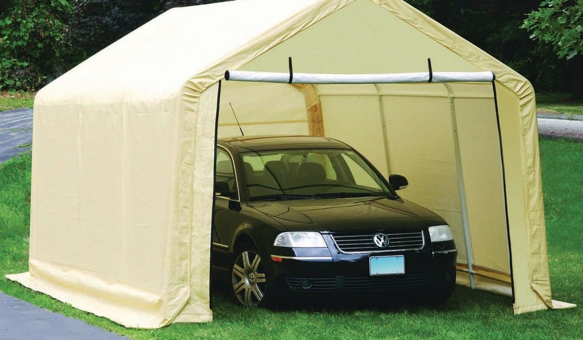 A temporary car shed