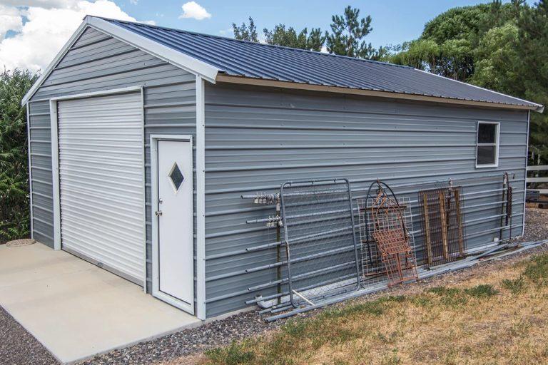 A metal car shed