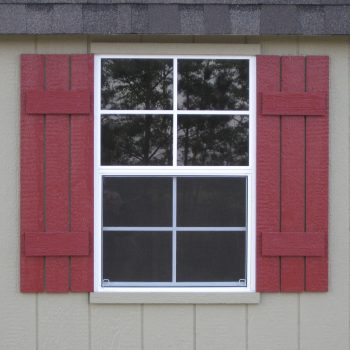 wooden garden sheds window with shutters wrens ga